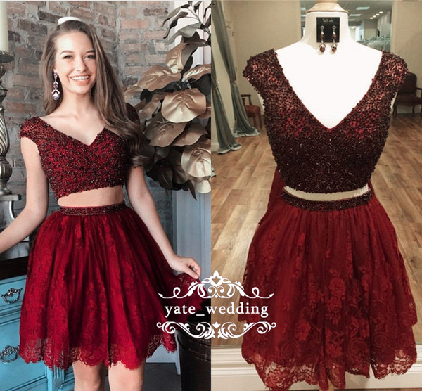 Charming Lace Short Homecoming Dresses 2018 V Neck Cap Sleeves Sequins Beaded Tulle Dark Red Regency Purple Navy Blue Two Piece Prom Dresses