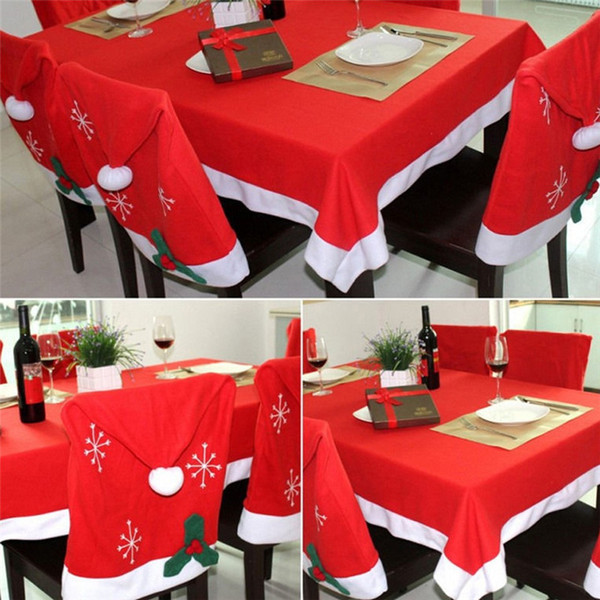 Christmas Creative Chair Back Covers Fashion Snow Santa Claus Red Hat Cover For Christmas Dinner Table Party Decoration Hot Sale