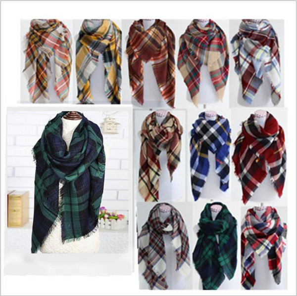 top popular Plaid Scarves Lattice Blankets Grid Tassel Wrap Oversized Check Shawl Tartan Cashmere Scarf Winter Neckerchief Fashion Accessorie B228 2021