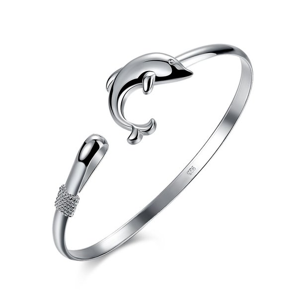 Dolphin Silver Bangle 925 Bracelet , Size 6.5cm Fashion Women's Bangles Jewelry Christmas Gift Free Shipping b178