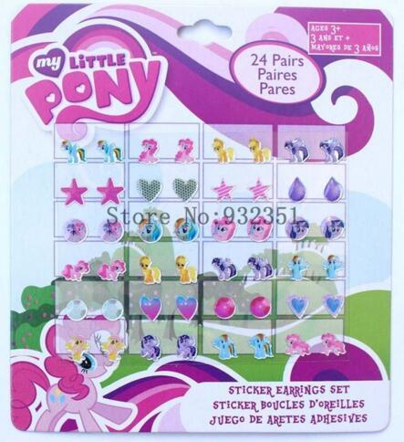 10 sheets 24 pairs of stick on Earrings little horse stickers party gifts