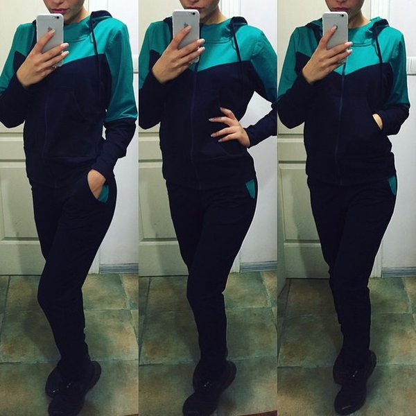 Brand new Fall new hot fashion stitching casual suit WT008 Women's Tracksuits