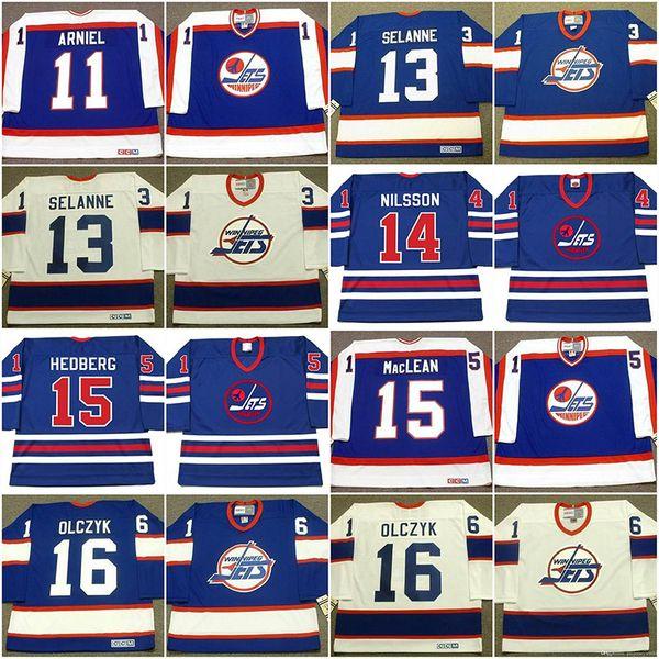 Winnipeg Jets Jersey 11 SCOTT ARNIEL 1984 13 TEEMU SELANNE 14 ULF NILSSON 1974 WHA ANDERS HEDBERG 1974 Vintage Hockey Jerseys