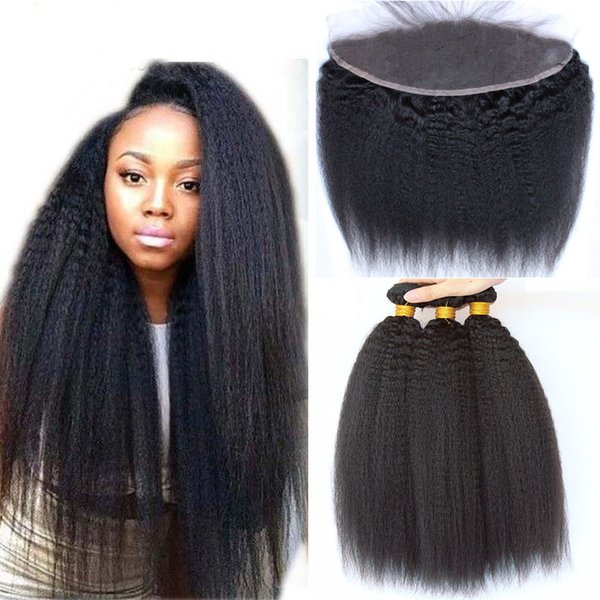 Kinky Straight Malaysian Human Hair Bundles With Lace Frontal Closure 4pcs Lot Unprocessed Virgin Hair Weaves With Ear To Ear Lace Closure
