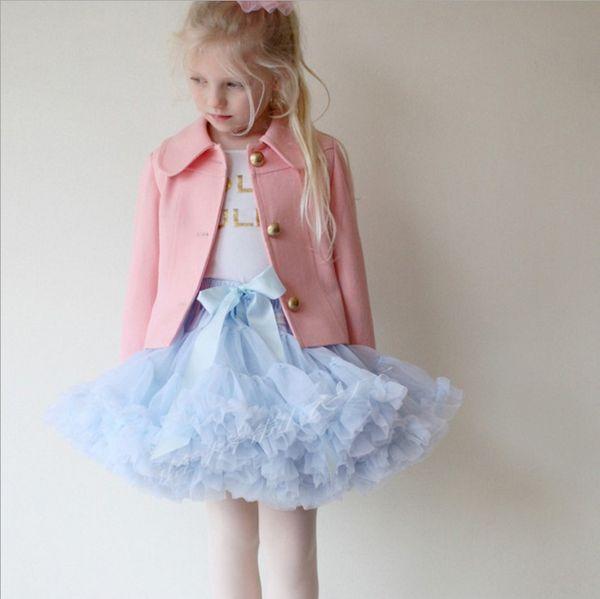 0-10T Baby Girls Tutu Skirts Bow Gauze Fluffy Pettiskirts Tutu Princess Party Skirts Ballet Dance Wear 28 Colors High Quality