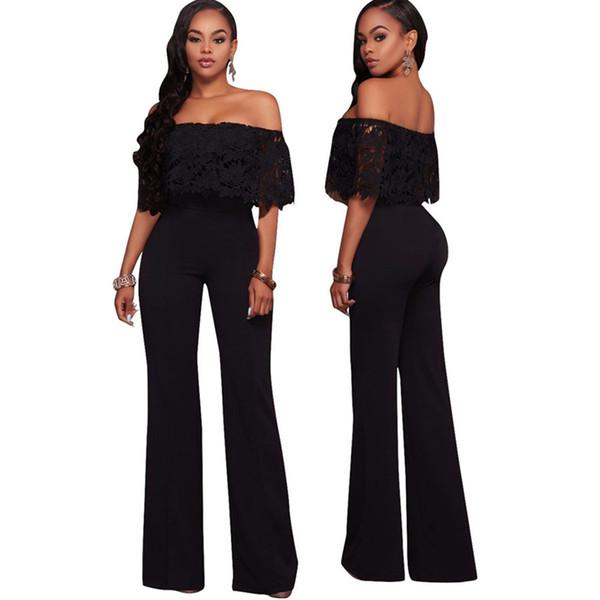 53b9d7173e1 Fashion Loose long Rompers Womens Jumpsuits Black Elegant Slash neck Full  Length One Piece Pants Jumpsuit