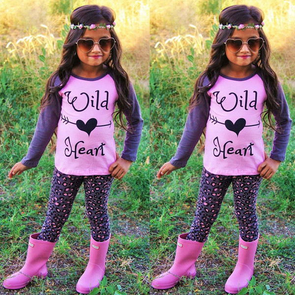 Spring Autumn Children Clothing Sets European Style Kids Wild Heart T Shirt With Polka Dot Long Leggings Two Piece Sets Kids Cotton Suits