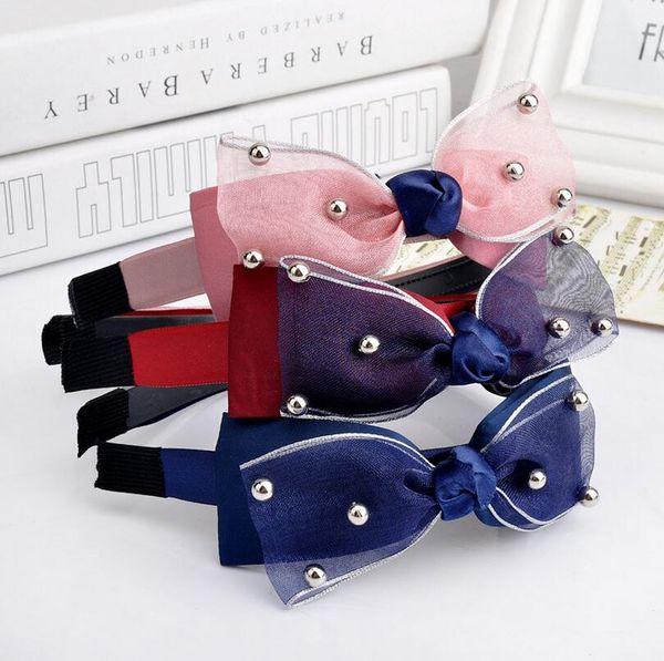Best gift Lace Pearls Wide Edge Hoop Butterfly Gauze Fabrics Headband Hair Accessories Headdress TG054 mix order 30 pieces a lot