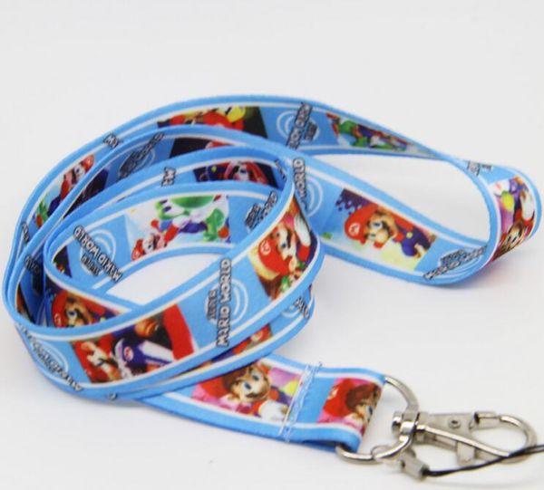 New 10pcs cartoon Super Mario Phone key chain Neck Strap Keys Camera ID Card Lanyard Free Shipping PO020