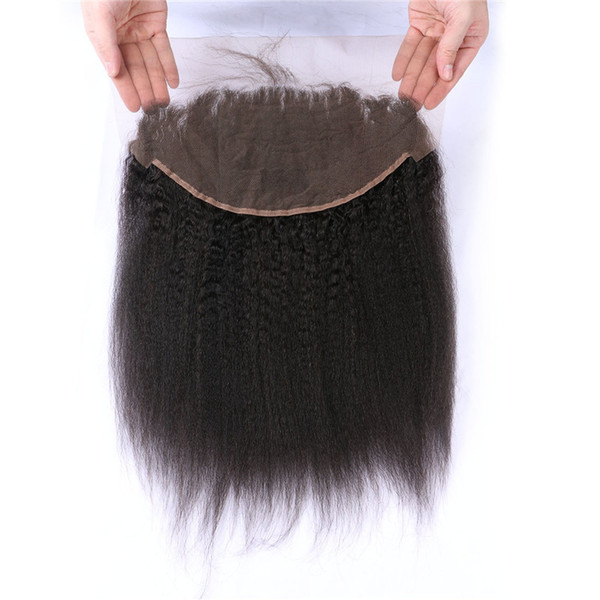 100% Human Hair Malaysian Kinky Straight Lace Frontals Free Middle Part Natural Black Yaki Hair Frontal Closure G-EASY