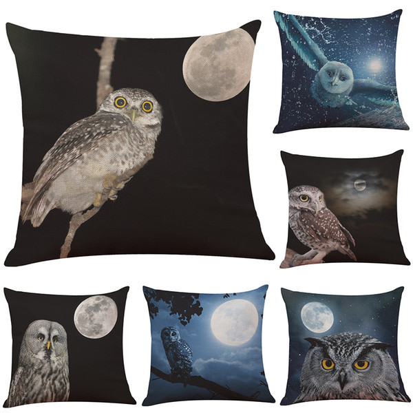 Novelty Owl Linen Cushion Cover Home Office Sofa Square Pillow