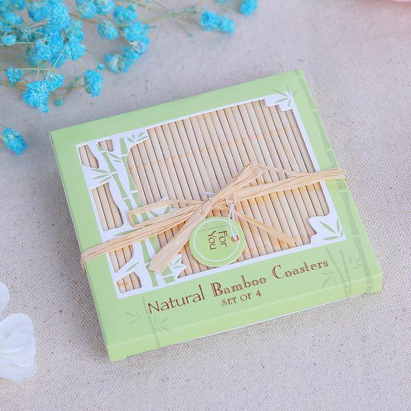 Wedding Favors Gifts Good Luck Bamboo Coasters Natural Square Bamboo Cup Mat 4pcs/set(=box) + DHL Free Shipping
