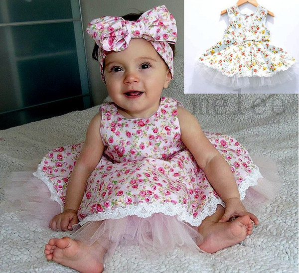 best selling INS summer girls cotton floral dresses little gir pink & bluel vest princess dress baby floral tutu party dresses infant children lace dress