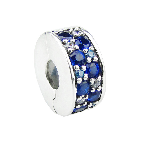 2017 summer loose Beads Fits for Pandora Bracelets 100% 925 Sterling Silver clip bead DIY women Jewelry blue wholesale free