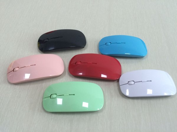 50pcs Recién llegado Color del caramelo Ratón inalámbrico ultra delgado y receptor 2.4 GHz USB óptico Colorido Oferta especial ratón para computadora