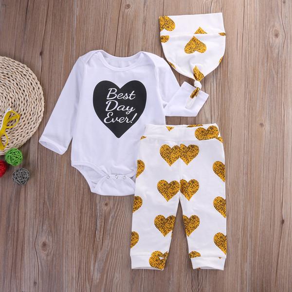 2016 fashion baby girls boys suits 3PCS Newborn kids boy girl Clothes Set long sleeve romper Tops+ Pants Leggings+hat cotton Beanie Outfits