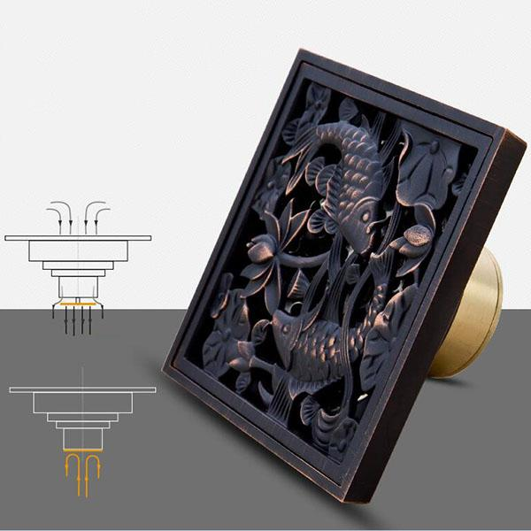 Square Shower Drain Cover.2019 Square Shower Drain Oil Bronze Drain Cover Washing Machine Floor Sewer Pipe Displacement For Antique Brass Bathroom Product From