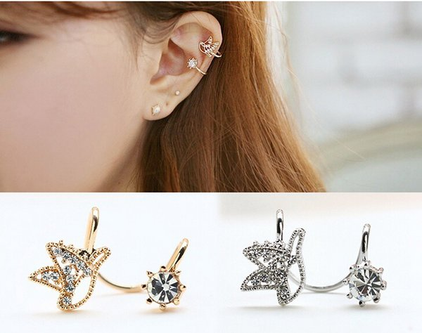 best selling Single one Cute Birds Rhinestone Earrings Without ear hole Earring clip on crystal earring wholesale free shipping