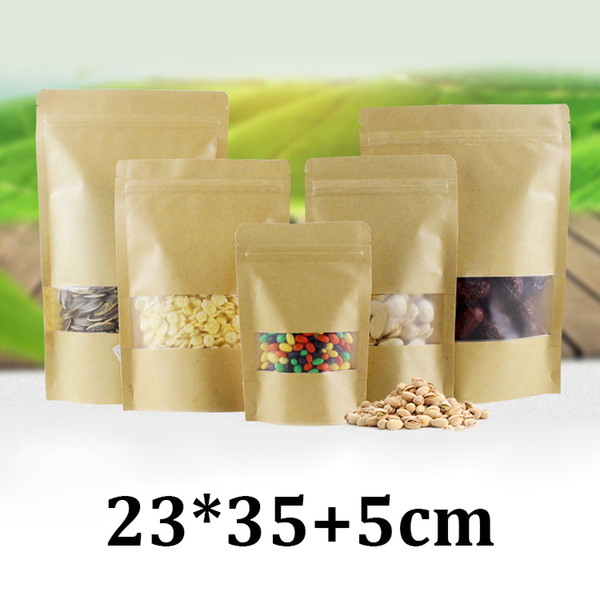 23x35cm frosted transparent plastic window resealable stand up kraft paper bag with zipper and window for packing coffee