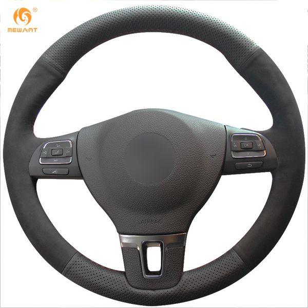 Mewant Black Genuine Leather Black Suede Car Steering Wheel Cover for Volkswagen VW Gol Tiguan Passat B7 Passat CC Touran