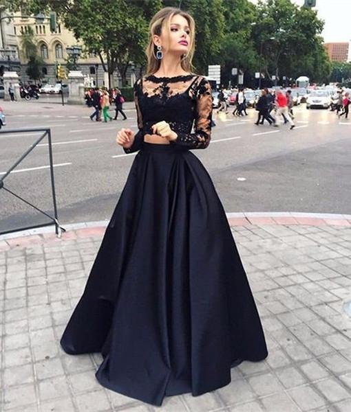Compre Nueva Arabia Saudita Negro Dos Piezas Vestido De Noche Vestidos Manga Larga Encaje Vestidos De Baile 2 Piezas Crop Top Vestidos De Graduación