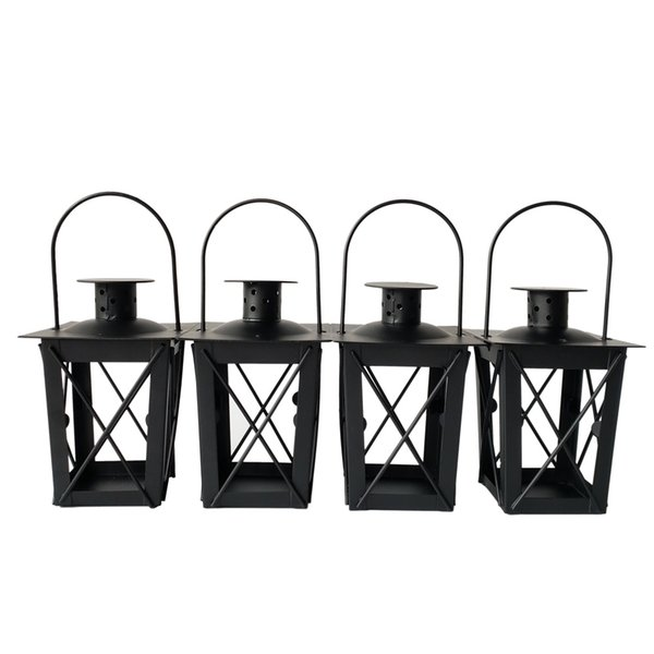 Free shipping Cheap classical small Metal candle holder Small Iron lantern Black Color small wedding lantern