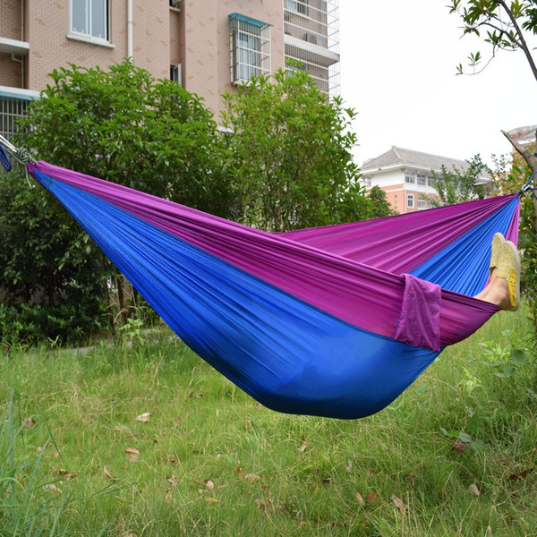 Whole ale portable nylon parachute double hammock garden outdoor camping travel  urvival hammock  leeping bed for 2 per on