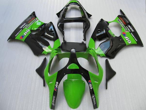 Injection moto parts fairings for Kawasaki Ninja ZX6R 2000 2001 2002 green black fairing kit ZX6R 00 01 02 OT56