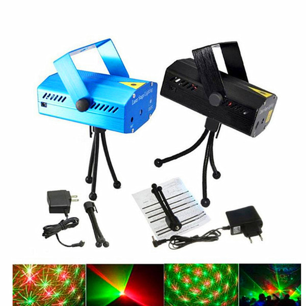 Voice-activated & Auto Model 150mW Red and Green Mini Laser Stage Light Stars LED Effects Lighting for Bar Club Party Room Joyful Lights