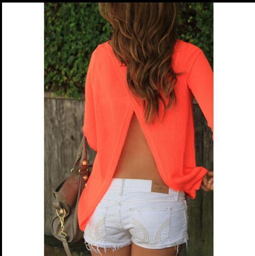 Europe fashion sexy Long sleeve chiffon back open fork blouses plus size spring summer autumn women black orange split t shirts tops coat