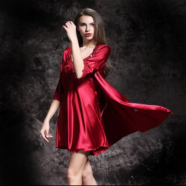 Mode féminine Victoria Sous-vêtements pour femmes Sexy Soie Rouge Femmes Vêtements de nuit Robes de nuit Deux pièces Ladies Nightwear Nighties For Women