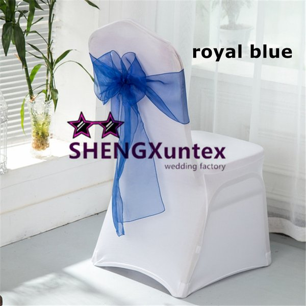 Hot Sale White Spandex Chair Cover With Royal Blue Organza Chair Sash \ Lycra Chair Cover For Wedding