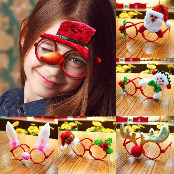 2018 Christmas Glasses Personalized Cap Snowman Elk Horn Santa Claus Children Eyewear Christmas Gift Party Decoration