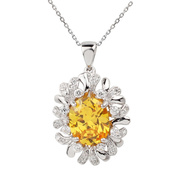 Solid 925 Sterling Silver Pendant Necklace Women Jewelry 9x11mm Oval Yellow Cubic Zirconia CZ Leaf Charm 18-inch Cable Chain P010GC