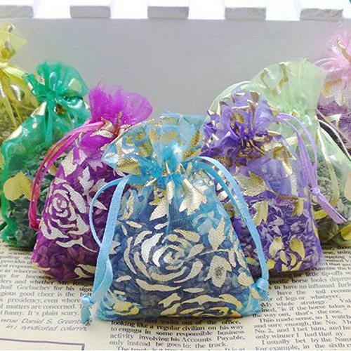 100ps Jewelry Gift Organza Bags Wedding Favors Candy Pouches Home Party Decoration Crafts Pack Festive Supplies