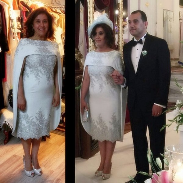 Hot Sale Tea Length Formal Evening Dresses For Arabic Women with Cloak Bateau Neck Silver Embroidery 2017 Custom Prom Occasion Party Gowns
