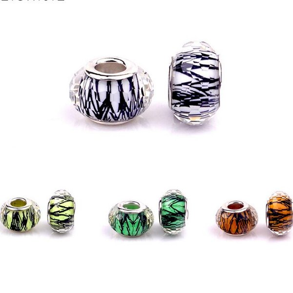 50PCS/Lot Fashion Striped Design Faceted Resin Charms Silver core European Big Hole Dot Beads for Jewelry Making Low Price RSB28