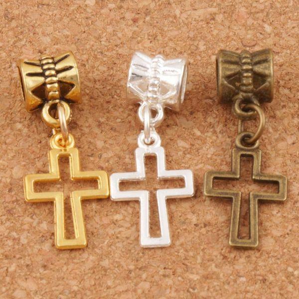 best selling Hollow Cross Charm Big Hole Beads 150pcs lot 27.8x10.5mm Silver Gold Bronze Plated Fit European Bracelets Jewelry Findings DIY B422