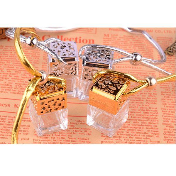 best selling Quartet 6ML with cover perfume bottle jar bottle car pendants boutique car empty bottle gold  silver