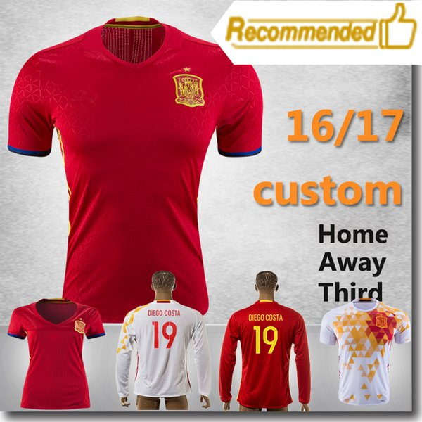dd6ef6c33 SPAIN FABREGAS Shirts 2016 PIQUE Soccer Shirts ISCO A.INIESTA Jersey DIEGO  COSTA red football