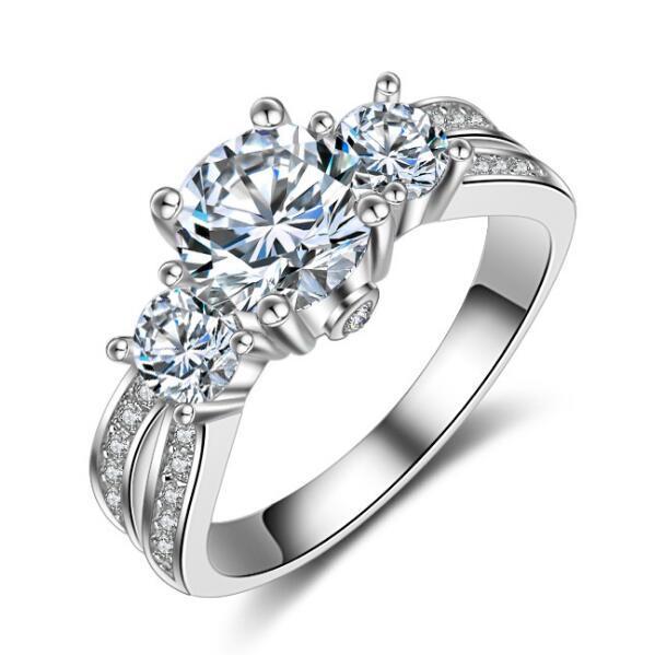 Старинные подлинные 2ct Топаз имитация алмазов 14kt белого золота заполнены женщины обручальное кольцо обручальное кольцо SZ 5-11