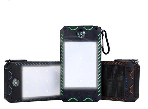 Solar Power Bank 10000mah For Sumsung All Phone External Battery Powerbank Waterproof 2 USB With Flashlight