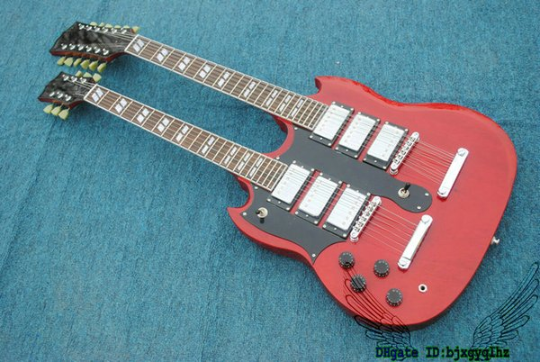 Left Handed Guitars Red 1275 Double Neck Electric Guitar 3 Pickups 6/12 Strings HOT