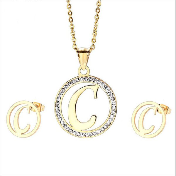 Fashion brand Crystal Initial Earrings diamond Zircon Pendant letters wedding jewelry for women 18K Gold Jewelry Sets