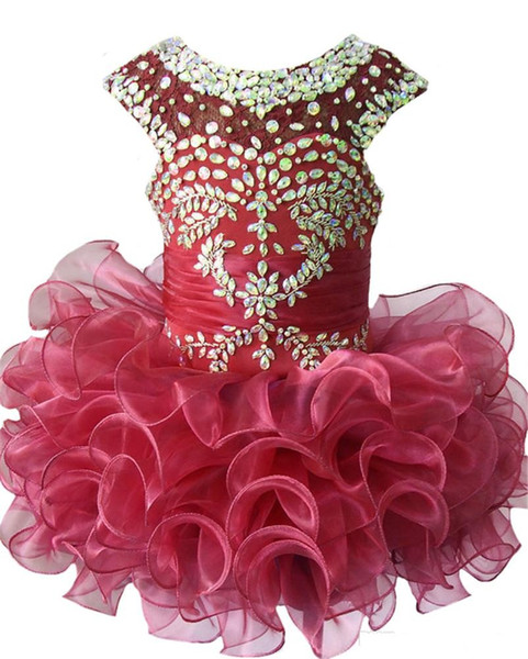 2017 New sequin crystal Beaded ruffle jewel organza Dresses Infant Skirts for Toddler Tutu Girl first communion Dresses