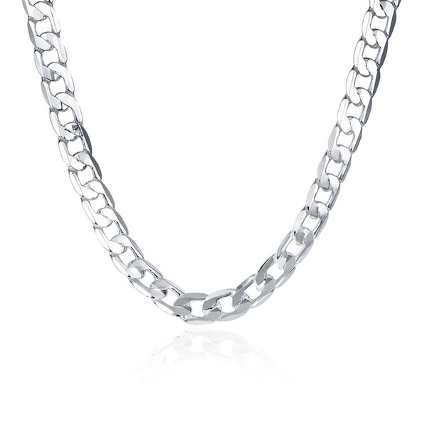 For Men's Figaro Chains 925 Silver Curb Chain Necklace 20inch 8mm , Fashion Silver Jewelry Necklaces 10Pcs N005
