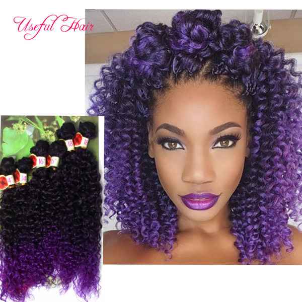 synthetic braiding crochet hair extensions sew in hair extensons 6pcs/lot synthet weft hair deep wave,kinky curly ombre brown,purple