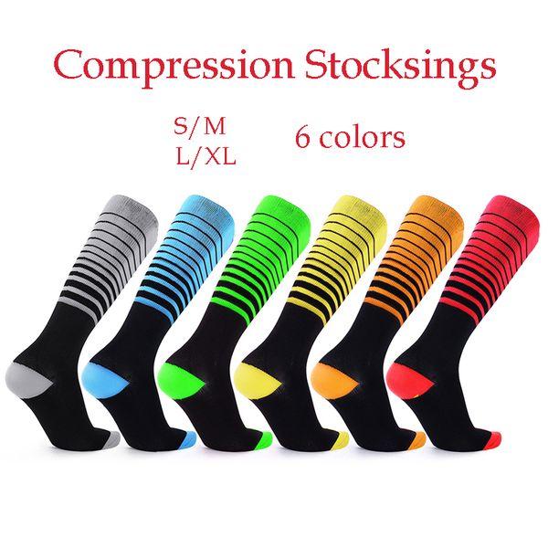 Calze a compressione per calzini snellenti unisex calze al ginocchio calze a righe calze a compressione 6 colori e taglia S / M L / XL spedizione gratuita