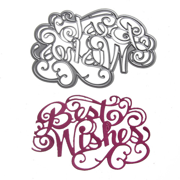 "best selling 1pcs Metal Steel "" Best Wishes "" Letter Cutting Dies Stencil For DIY Scrapbooking Album Paper Card Photo Decorative Craft"
