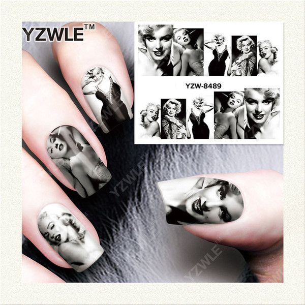 Wholesale-YZWLE 1 Sheet DIY Decals Nails Art Water Transfer Printing Stickers Accessories For Manicure Salon YZW-8489